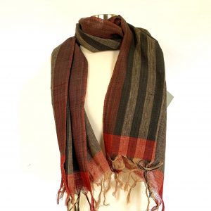Selvedge Black Striped Brown Scarf 3 scaled