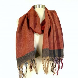 Selvedge Black Striped Red Scarf scaled
