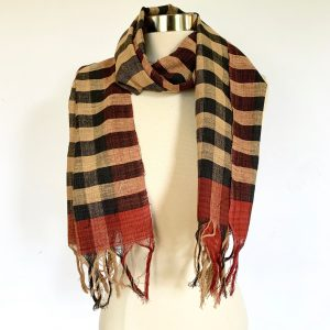 Selvedge Black Striped and Checkered Scarf 2 scaled