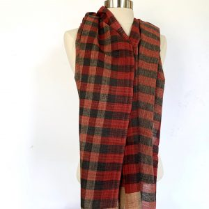 Selvedge Black and Red Checkered Scarf scaled